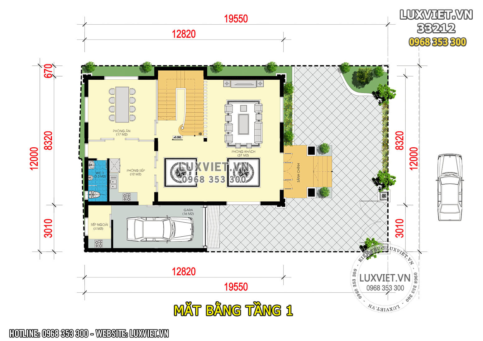 Hình ảnh: Mặt bằng công năng tầng 1 nhà 3 tầng 100m2 - LV 33212
