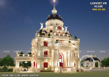 Thiết kế lâu đài 4 tầng đẹp nguy nga lộng lẫy phong cách tân cổ điển – LV 41105