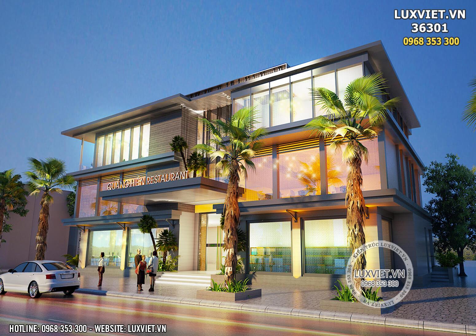 Hình ảnh: Sự kết hợp hài hòa giữa các nguyên vật liệu của mẫu thiết kế nhà hàng 3 tầng