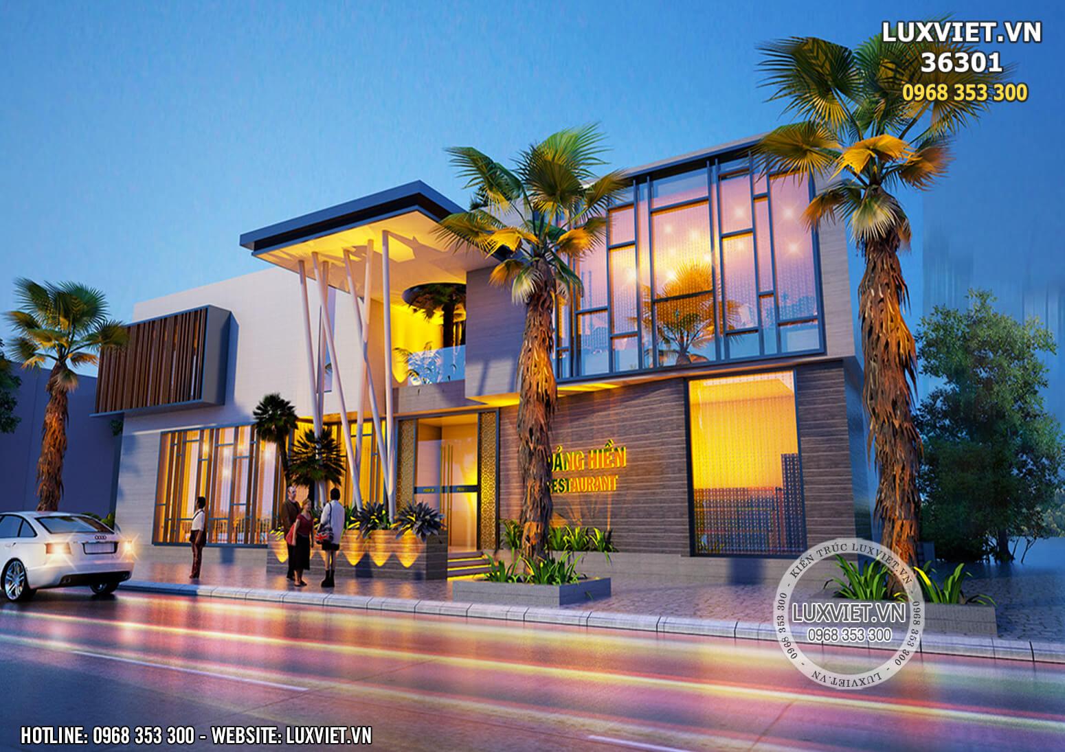 Hình ảnh: Phương án 2 của không gian mặt tiền của ý tưởng thiết kế nhà hàng 3 tầng