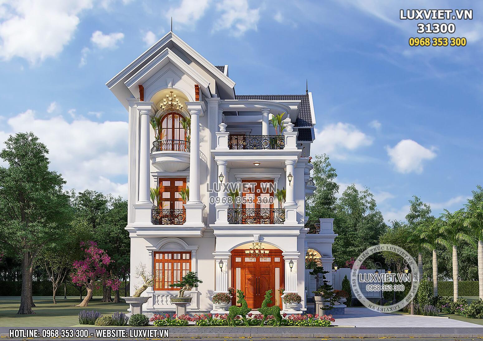 Hình ảnh: Mẫu thiết kế biệt thự mái thái tân cổ điển lộng lẫy và kiểu sa - LV 31300