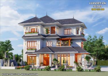 Mẫu nhà đẹp 3 tầng mái Nhật 130m2 tiện nghi, sang trọng – LV 31303