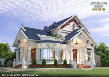 Giải pháp kiến trúc cho mẫu biệt thự 1 tầng tân cổ điển đẹp  – LV 11019