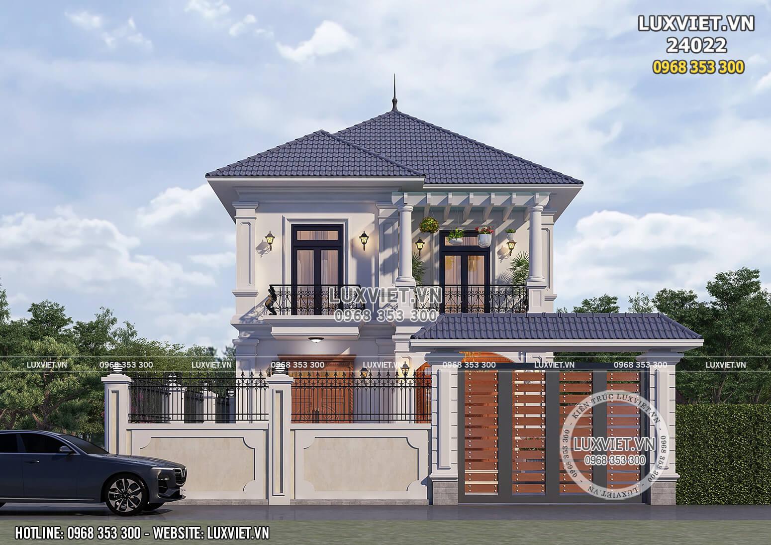 Hình ảnh: Mặt tiền trong thiết kế của mẫu nhà 2 tầng mái Nhật - LV 24022