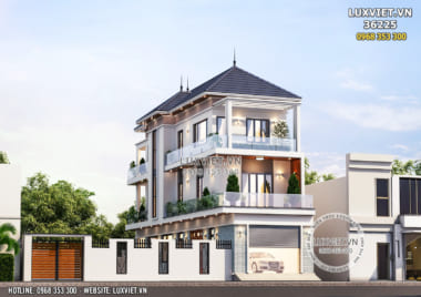 Mẫu nhà 3 tầng đẹp hiện đại mặt tiền 5m tại Bắc Giang – LV 36225