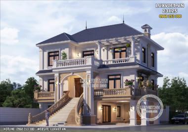 Thiết kế nhà 1 trệt 2 lầu đẹp tại Bắc Ninh – LV 23125