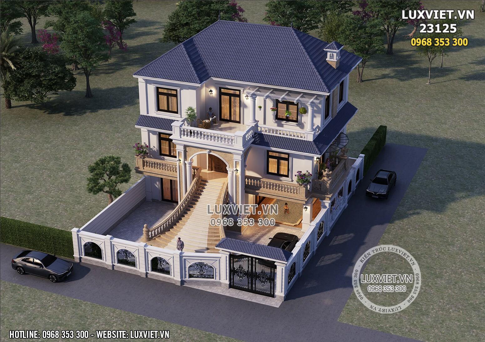 Hình ảnh: Phối cảnh 3D thiết kế nhà 1 trệt 2 lầu đẹp tại Bắc Ninh - LV 23125