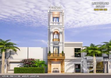 Mẫu nhà phố 4 tầng tân cổ điển mặt tiền 5m – LV 35110
