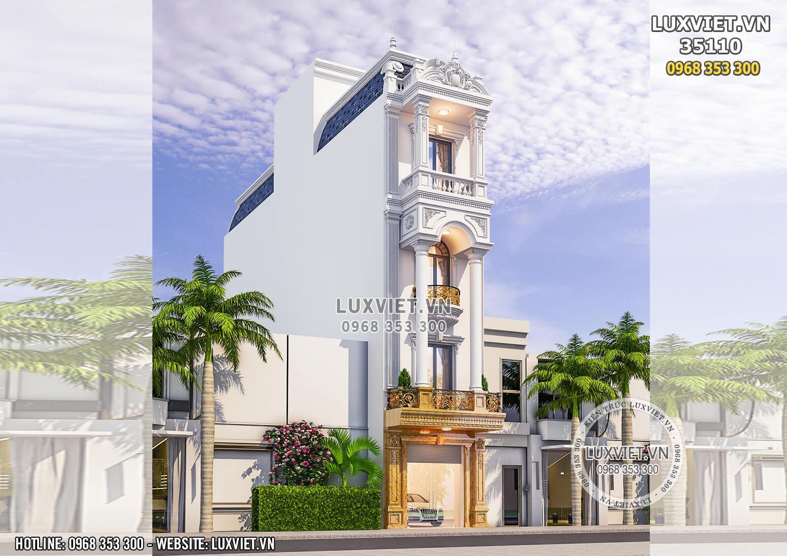 Hình ảnh: Mẫu nhà phố 4 tầng tân cổ điển mặt tiền 5m - LV 35110