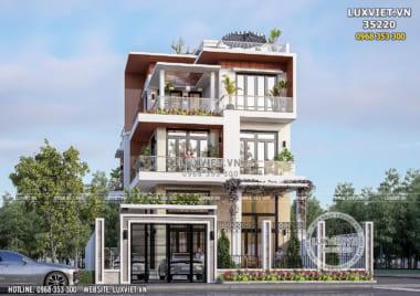 Thiết kế biệt thự hiện đại 3 tầng đẹp tại Quốc Oai – LV 35220