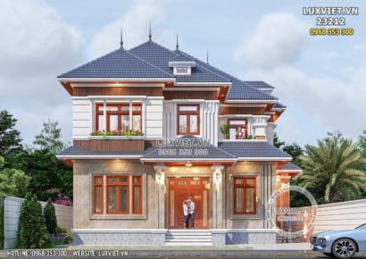 HÌnh ảnh: Thiết kế biệt thự mái Nhật 2 tầng đẹp hiện đại - LV 23121