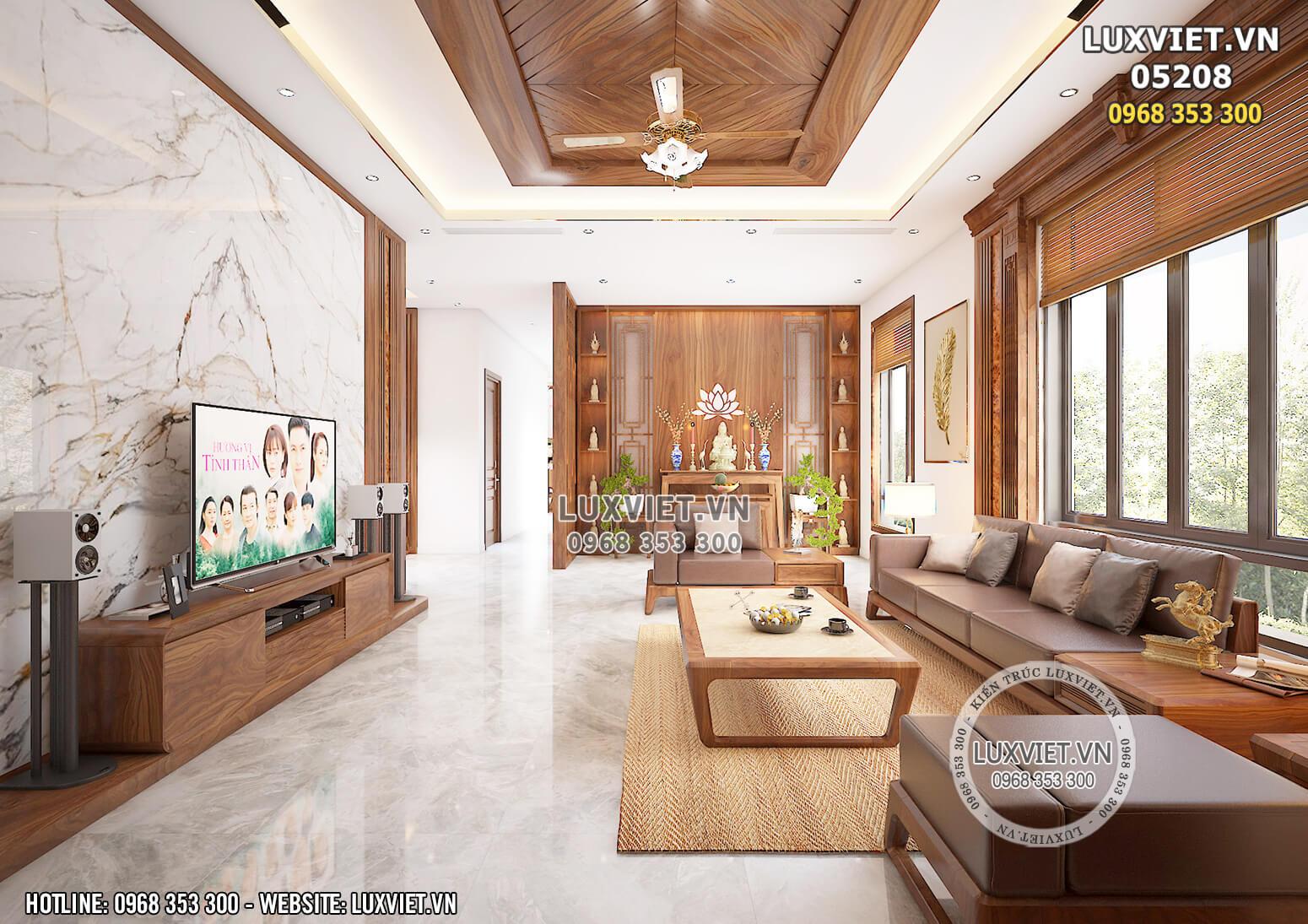 Hình ảnh: Thiết kế phòng khách bằng gỗ óc chó hiện đại - LV 05208