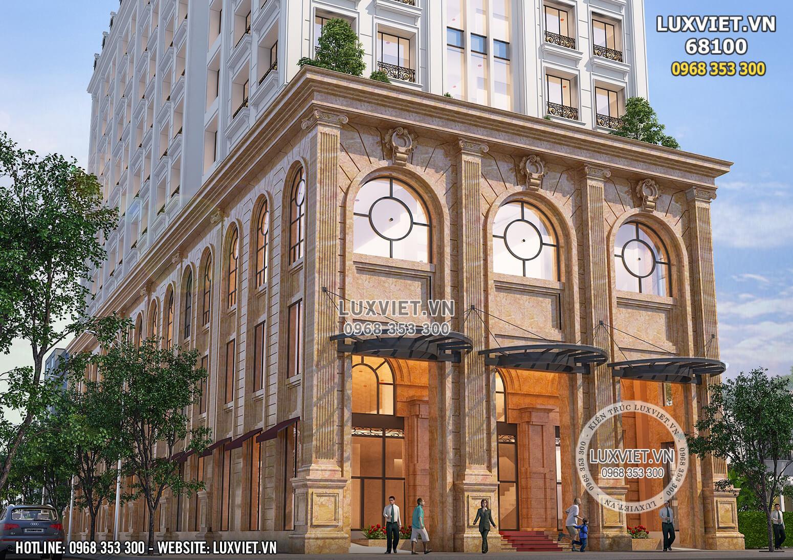Hình ảnh: Mặt tiền của mẫu thiết kế khách sạn 4 sao tân cổ điển vào ban ngày