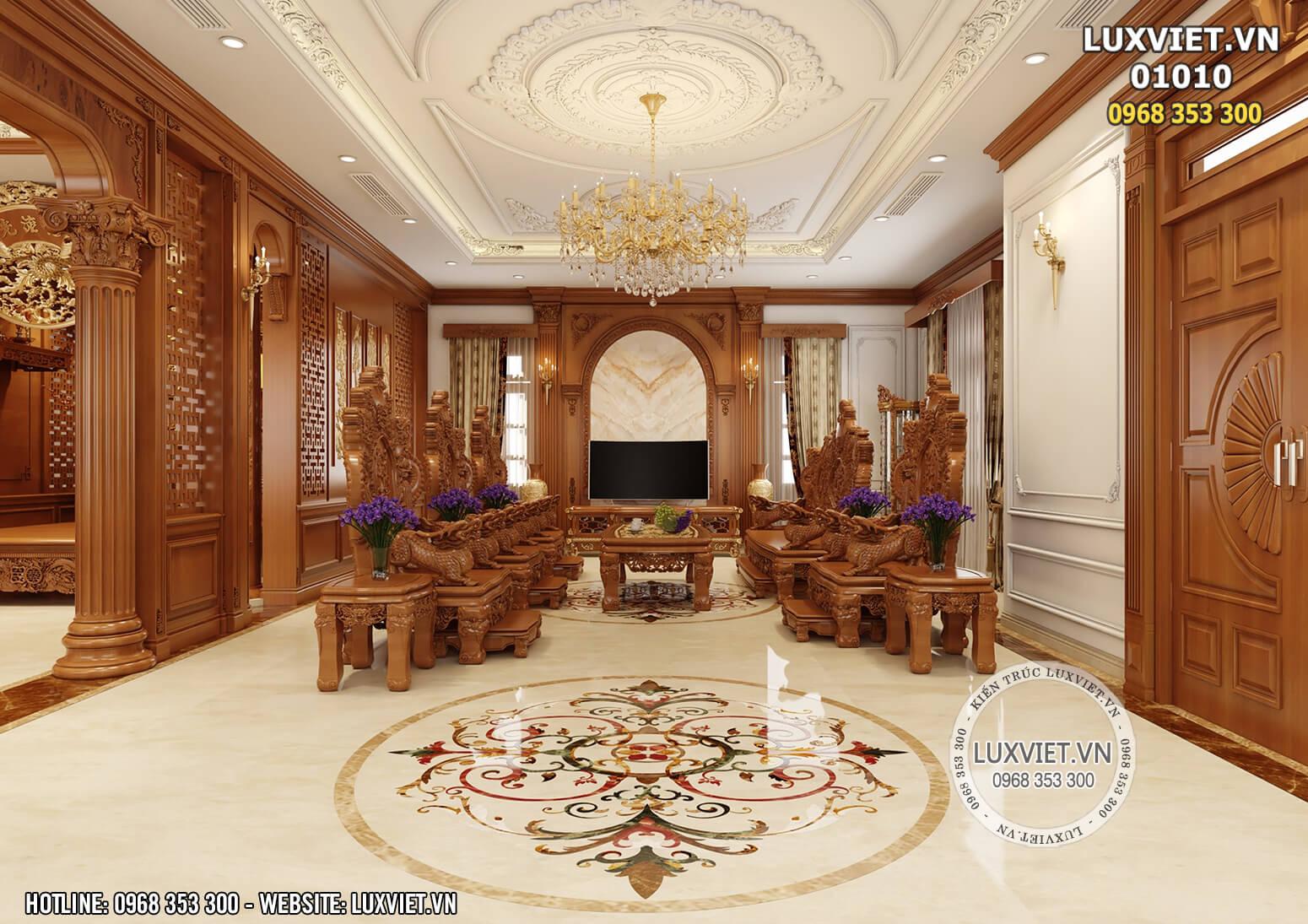 Nội thất gỗ tân cổ điển cho biệt thự 2 tầng – LV 01010.