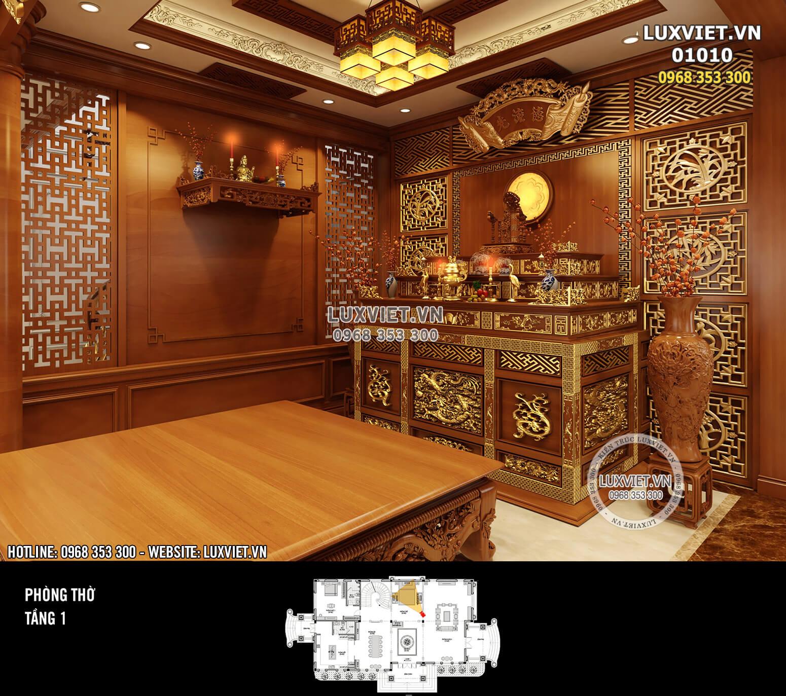 Hình ảnh: Phòng thờ sử dụng chất liệu gỗ cao cấp - LV 01010