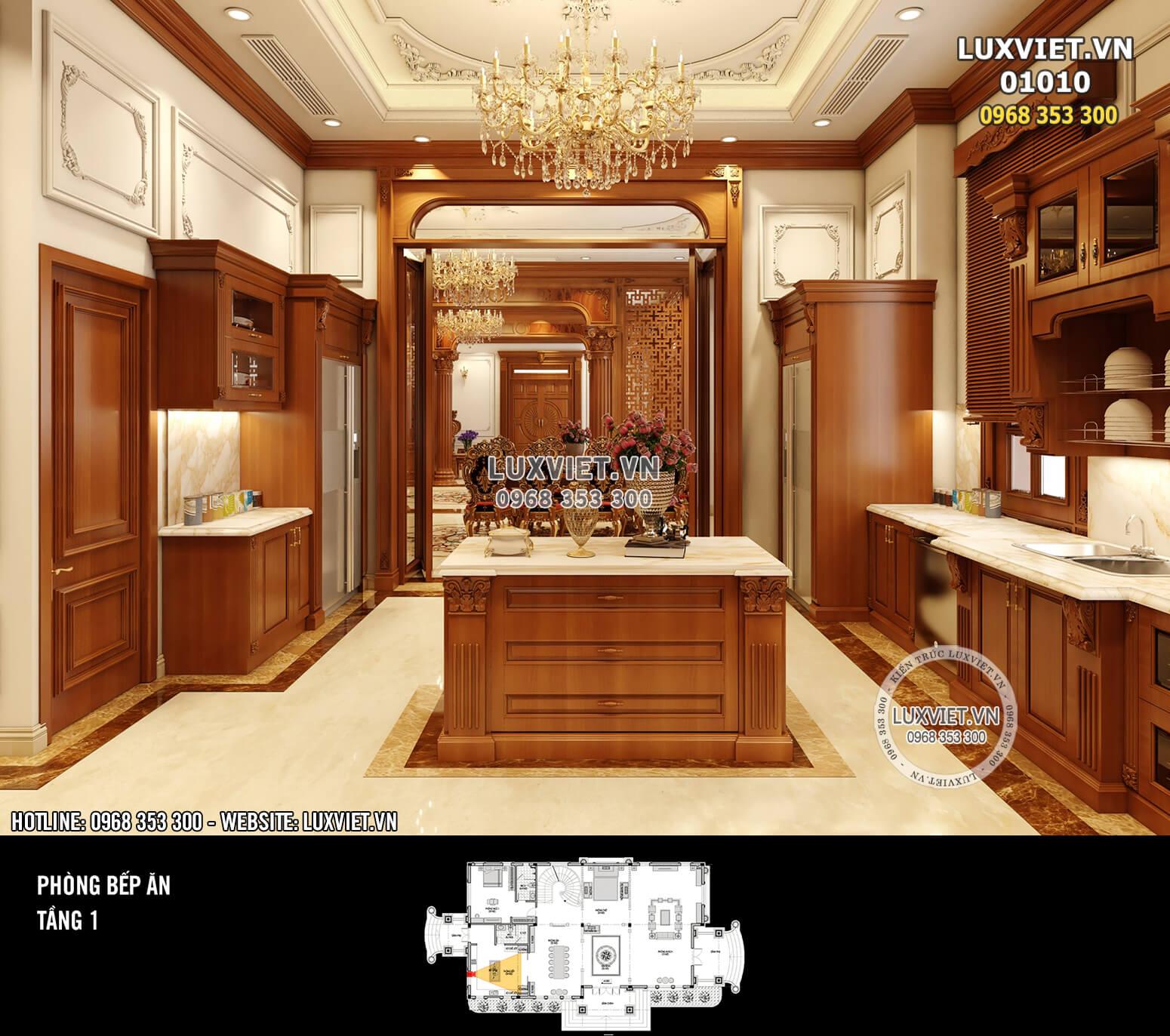 Hình ảnh: Phòng bếp ăn màu nâu gỗ đặc trưng và sang trọng - LV 01010
