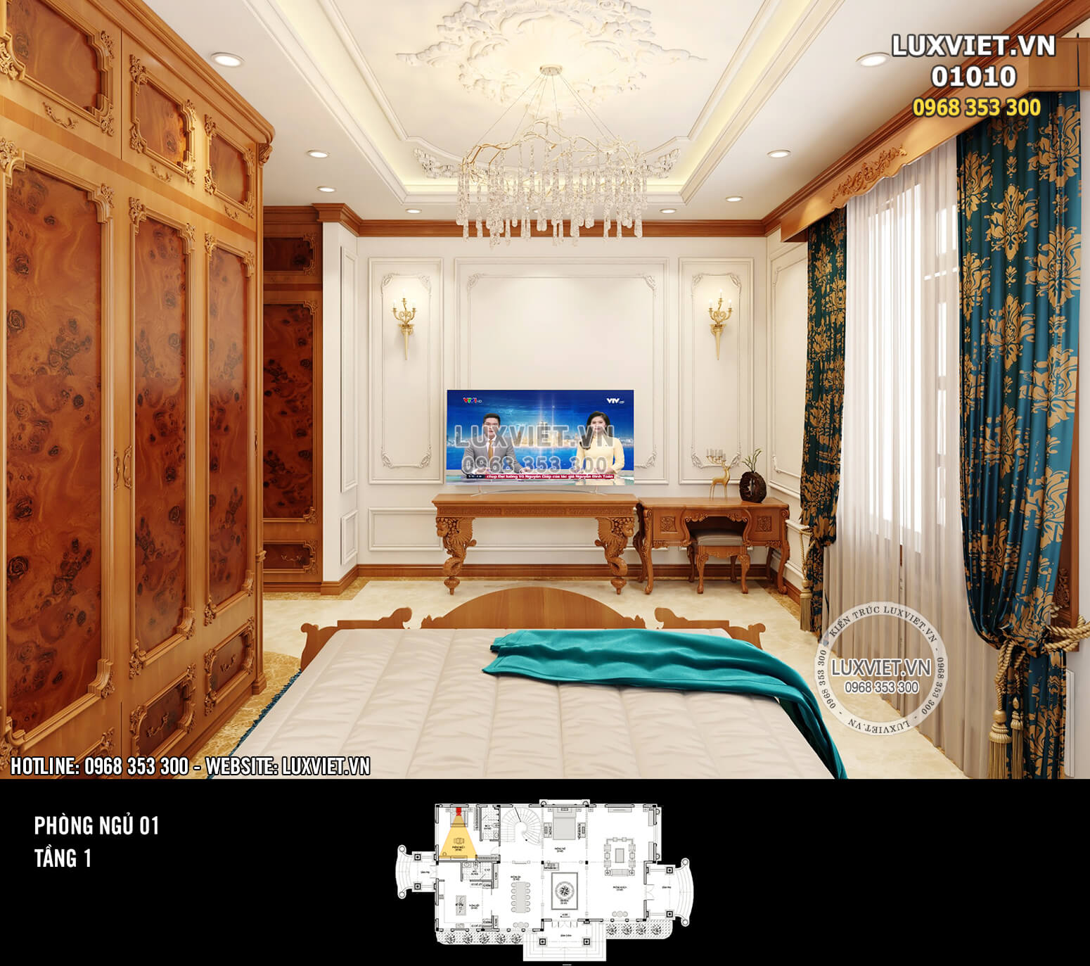 Hình ảnh: Nội thất gỗ tân cổ điển cho phòng ngủ 1 - LV 01010