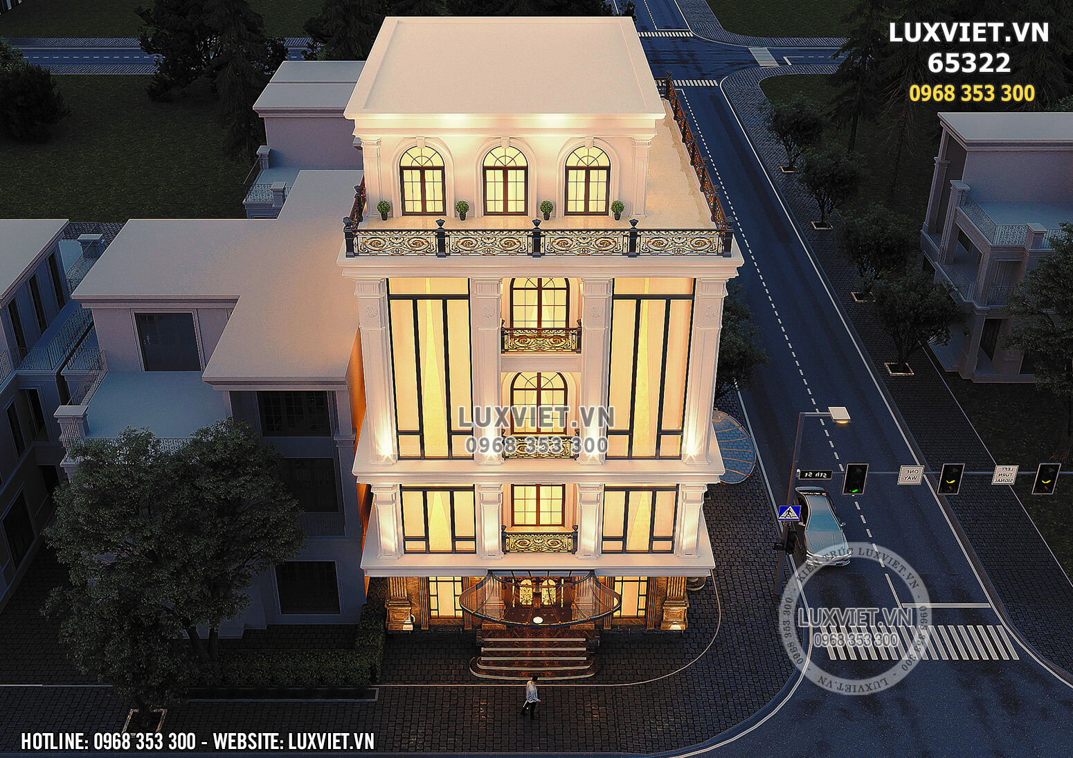 Hình ảnh: Toàn cảnh mẫu thiết kế tòa nhà 5 tầng 2 mặt tiền nổi bật - Lv 65322