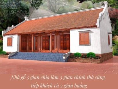 Hình ảnh: Nhà gỗ 5 gian chia làm 3 gian chính và 2 gian buồng